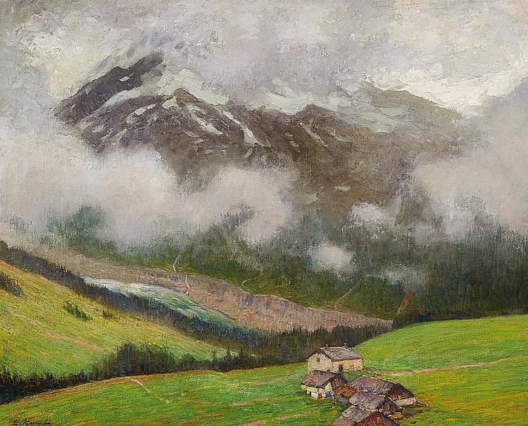 Kampf, Eugen 1861 Aix-la-Chapelle - 1933 Düsseldorf  Chalets in the Savoy Alps.