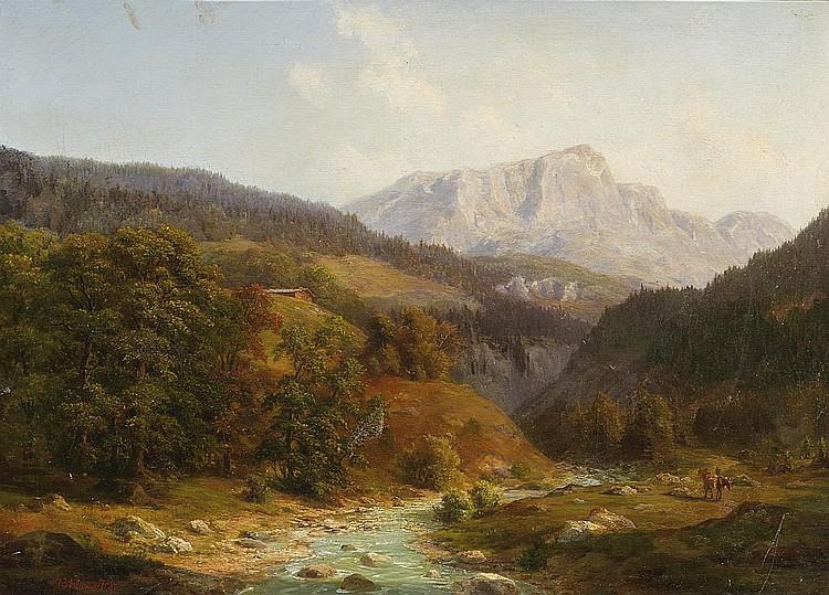 Haeselich, Georg Hamburg 1806 - 1894  Alpine panorama landscape.