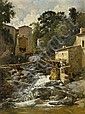 Fleury, Léon 1804 - 1858  A village footbridge crossing a mountain torrent., Léon Fleury, Click for value