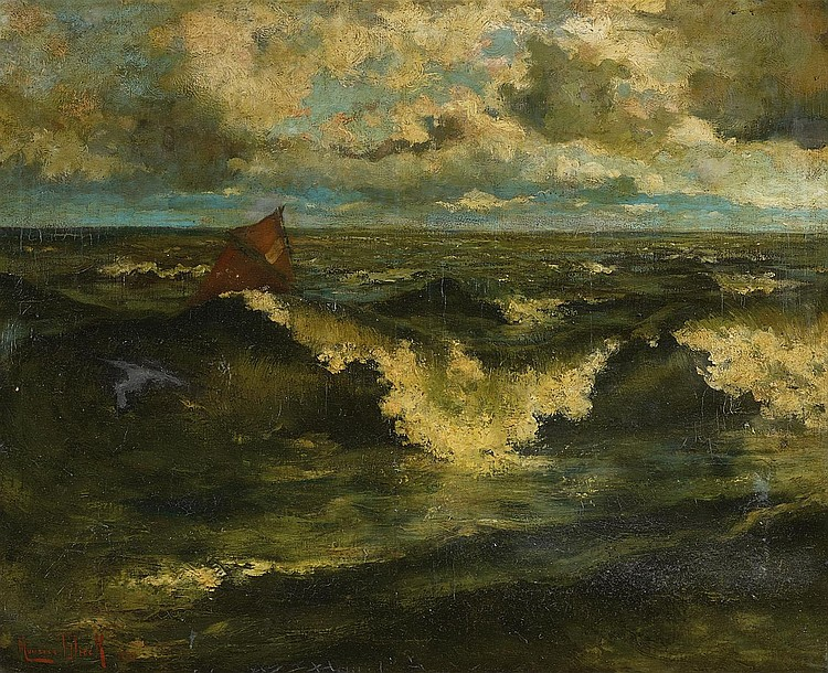 Blieck, Maurice 1876 Brussels-Laeken - 1922 Brussels  Churning Sea.