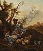 Carrée, Michiel 1657 Den Haag - 1727 Alkmaar  Idyllic, open landscape with farmers and cattle., Michiel Carree, Click for value