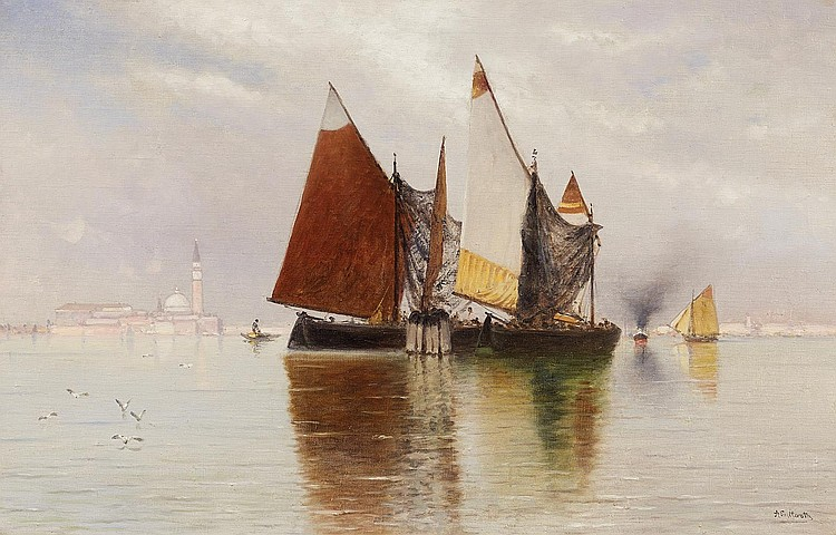 Lutteroth, Ascan Hamburg 1842 - 1923  A serene summer day off Venice with the Isola di San Giorgio Maggiore.