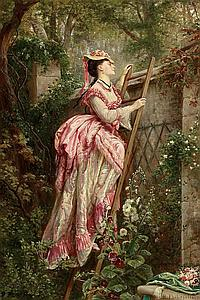 Philippoteaux, Paul Dominique 1845 - 1923 Lady looking behind the walls.