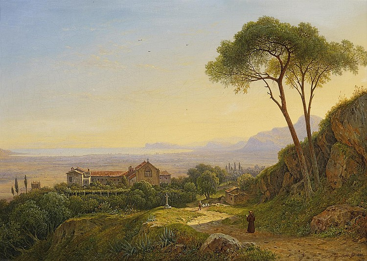 Morgenstern, Carl Frankfurt/Main 1811 - 1893  Morning atmosphere in the mountains of Sicily at the convent of Baida.