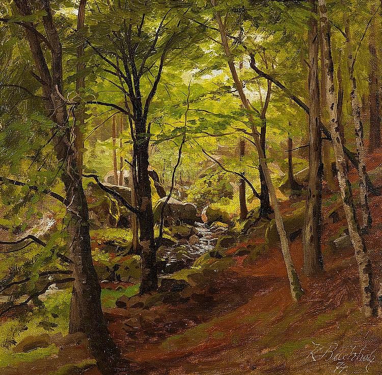 Buchholz, Karl 1849 Schloßwippach/Weimar - 1889 Oberweimar  Wood in the Harz Mountains.