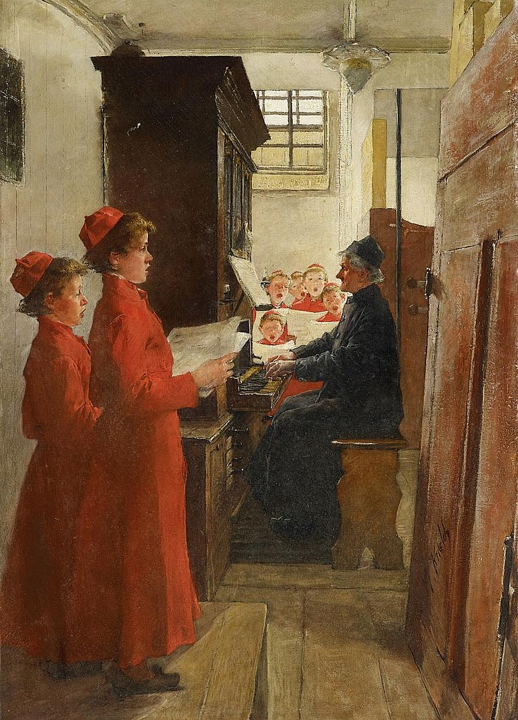 Kuehl, Gotthardt 1850 Lübeck - 1915 Dresden  Singing Lesson.