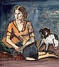 Macke, Helmuth Krefeld 1891 - 1936  Young woman with dog., Helmuth Macke, Click for value