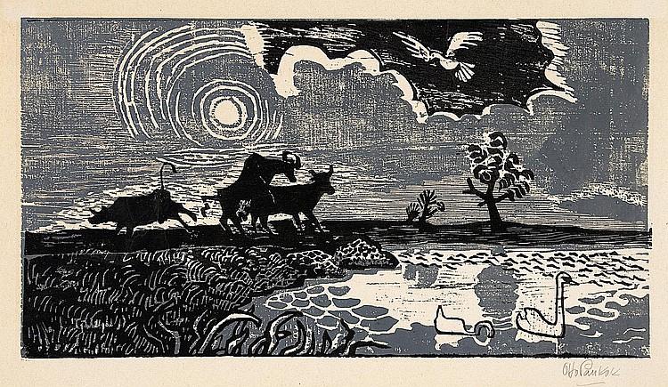 Modern Prints:  Pankok, Bernhard 1872 Münster (Westphalia) - 1943 Baierbrunn  Kuhweide am Wasser.