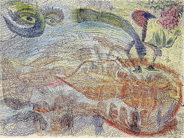 Contemporary Prints:   Ursula (Ursula Schultze-Bluhm) 1921 Mittenwalde/Mark Brandenburg - 1999 Cologne  Die Mondbohne.