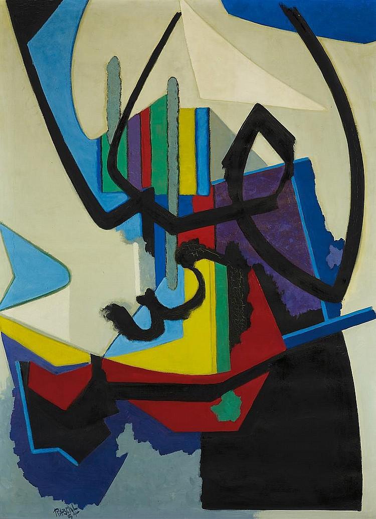 Ritschl, Otto 1885 Erfurt - 1976 Wiesbaden  Abstrakte Komposition 54/5.