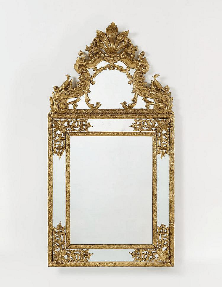 Large Régence Mirror. France. 18th C. Wood, carved
