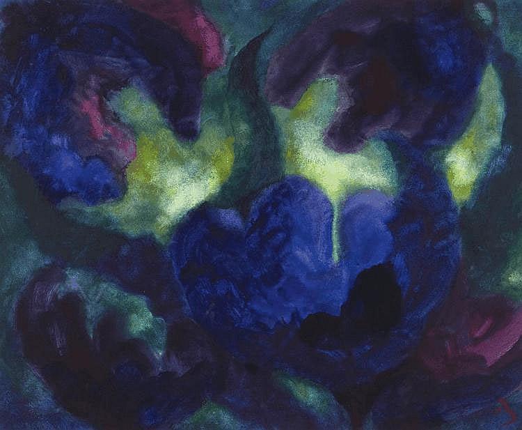 Beck, Herbert 1920 Leipzig Blue Flowers. Mixed