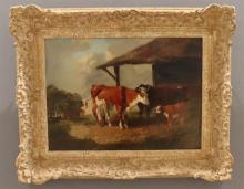 Henry A. Woollett (1851-1873) - gesign. r.o., koeien bij stal, doek - 30 x 40
