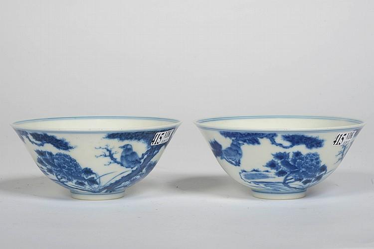 Paire de bols en porcelaine bleue et blanche de chine d cor - Applique porcelaine blanche ...