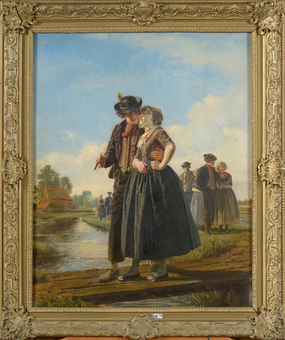 """DILLENS Adolf (1821 - 1877) Huile sur panneau """"La traversée du pont d'amour"""". Signé en bas à dr"""