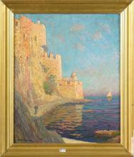 """Huile sur toile """"Collioures"""". Signé en bas à gauche A. Hamon. Ecole française. (Micro écaillements)."""