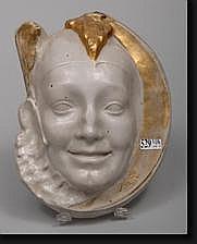DE RUDDER Isidore (1855-1943). Pierrot, bas-relief