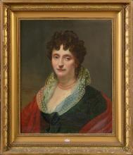 """Huile sur toile marouflée sur toile """"Portrait de dame"""". Signé au milieu à gauche Ad. de Romance Romany et daté 1813. Ecole française. Dim.:62x51,5cm."""