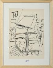 """GRAVURES """"La flèche de Notre-Dame"""" lithographie en noir et blanc sur papier. Monogrammé en bas à"""
