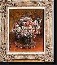"""BIERAND Georges (1895-?). Huile sur panneau """"Vase"""