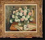 AERS Marguerite (1918-1995). Huile sur toile Vase