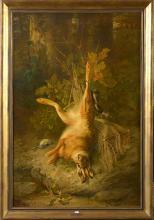 """Huile sur toile """"Trophée de chasse au lièvre"""". Signé en bas à droite F. Huygens. Ecole belge. Dim.:127,5x84cm."""