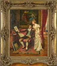 """Huile sur toile """"Scène galante dans un intérieur"""". Signé en bas à droite F."""