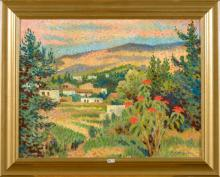 """Huile sur panneau """"Vue d'un paysage provençal"""". Signé en bas à droite L. Neuquelman. Ecole française"""