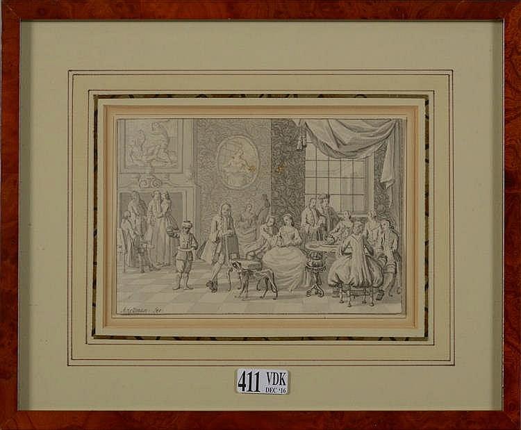 """AARTMAN Nicolaas (1713 - 1793) """"Conversations au salon"""", encre et lavis d'e"""