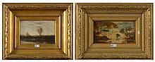 """VAN DE KERKHOVE Fritz (actif 1862-1873) Deux huiles sur panneau de chêne """"P"""