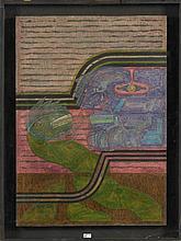 """ARBOLEDA Alberto (1925) - """"La serpiente del paraiso"""", technique mixte do"""