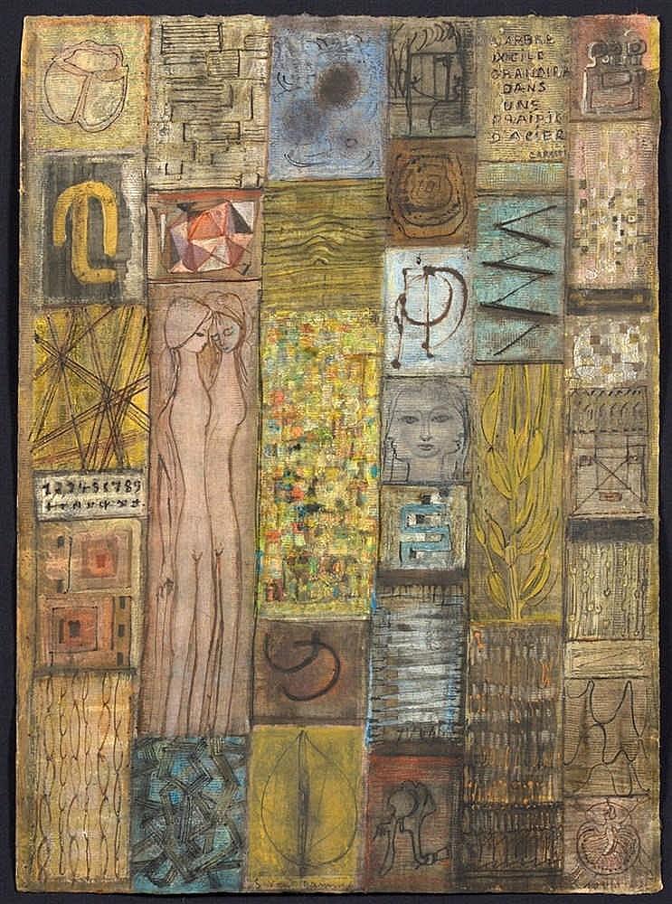 Van damme suzanne 1901 1986 peinture l 39 oeuf sur papi for Peinture sur papier