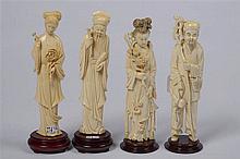 Lot comprenant quatre sculptures en ivoire dont deux