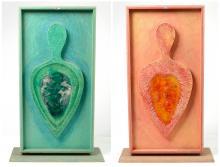 """KREKELS Christian (1942) - """"Abstraction"""", paire de sculptures en bois, plâtre et résine de couleu"""