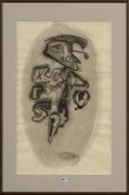 """VAN ANDERLECHT Englebert (1918 - 1961) - """"Personnage stylisé"""" lavis d'encre noire sur papier. Sig"""