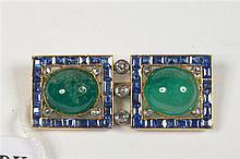 Broche en or jaune 18 carats sertie de 2 émeraudes taille cabochon pour +/-