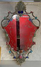 Grand miroir chantourné en verre Incolore de Venise décoré de