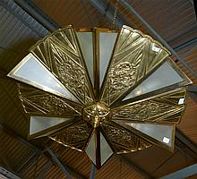 Lustre de style Art Déco en bronze doré à six lumières cachées par du verre