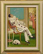 """LEMAIRE Henri (1879 - 1949), Huile sur carton """"Pierrot à la cigarette"""". Sig"""