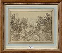 """NANTEUIL-LEBOEUF Célestin François (1813 - 1873), """"Projet pour une décorat"""