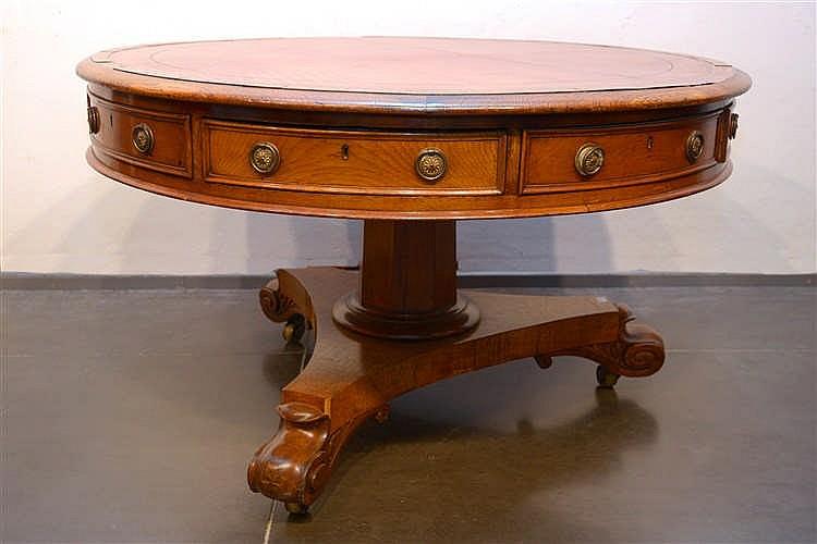 Library table ronde en ch ne et placage de ch ne ouvrant p for Table ronde chene clair