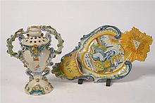 Un grand bénitier de style Louis XV en faïence polychrome d'Auxerre (?) dat