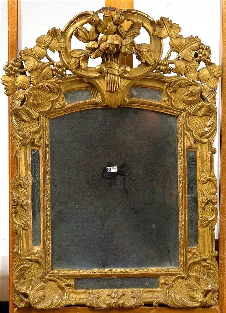 Miroir de style r gence en bois sculpt ajour et dor tra - Miroir ancien bois dore ...