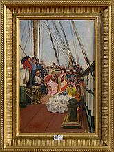 """VINIEGRA Y LASSO Salvador (1862 - 1915) Huile sur panneau """"Les danseuses de"""