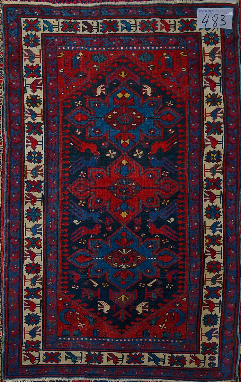 Carpette Shirvan ancienne faite main en laine à