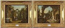 """ZAIS Giuseppe (1709 - 1784) Paire d'huiles sur panneau """"Paysages de ruines"""