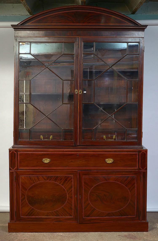 double corps vitrine en placage d 39 acajou et filets de bois c. Black Bedroom Furniture Sets. Home Design Ideas