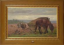 """Huile sur toile """"Le ramassage de pommes de terre"""". Signé en bas à gauche L. Loncin. Ecole belge. Dim.:60x100,5cm."""