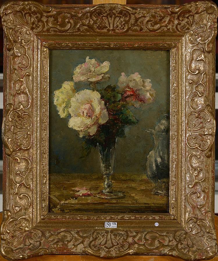 Huile sur panneau petit bouquet de roses dans un verre at for Un bouquet de roses
