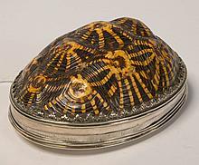 Grande tabatière décorée d'une carapace de tortue à couvercle et monture en argent gravé d'une